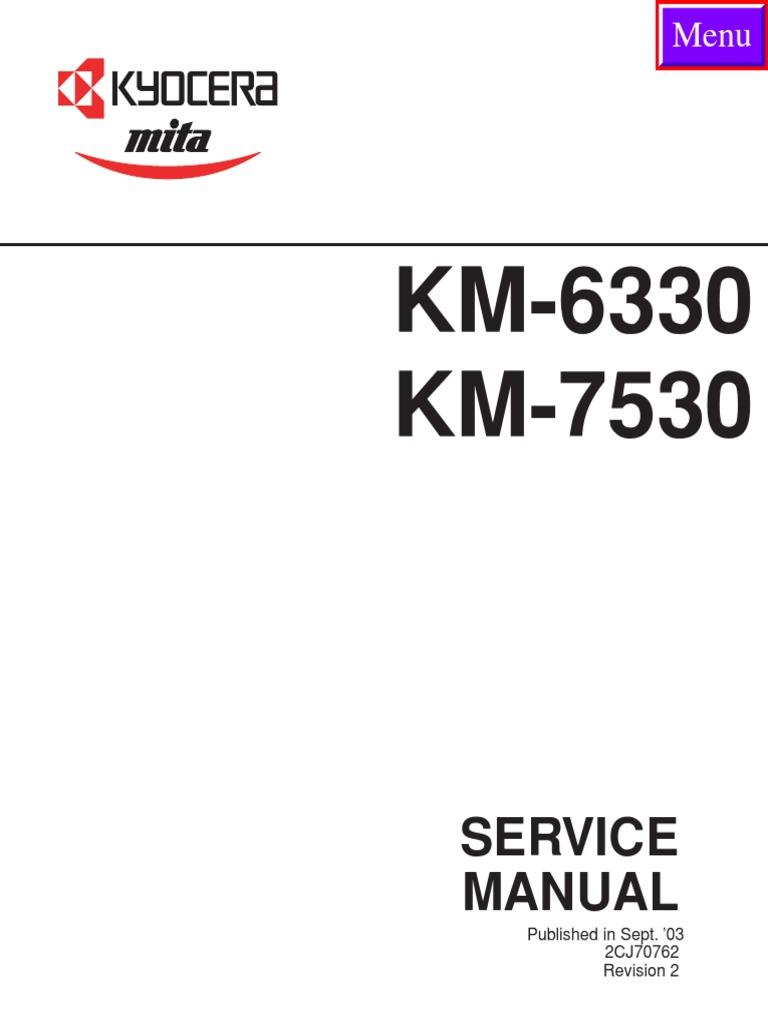 Kyocera Mita KM 6330 7530 Service Manual | Electrical Connector |  Photocopier