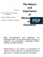 The Nature of Measurement and Evaluation-