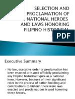 Selection and ProclamSELECTION AND PROCLAMATION OF NATIONAL HEROEation of National Heroes