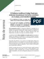 Gabinete de Prensa MAGRAMA - Modificación Código Penal Incendios Forestales 20-09-2013