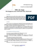 Offre de stage développement web, front-end / back-end