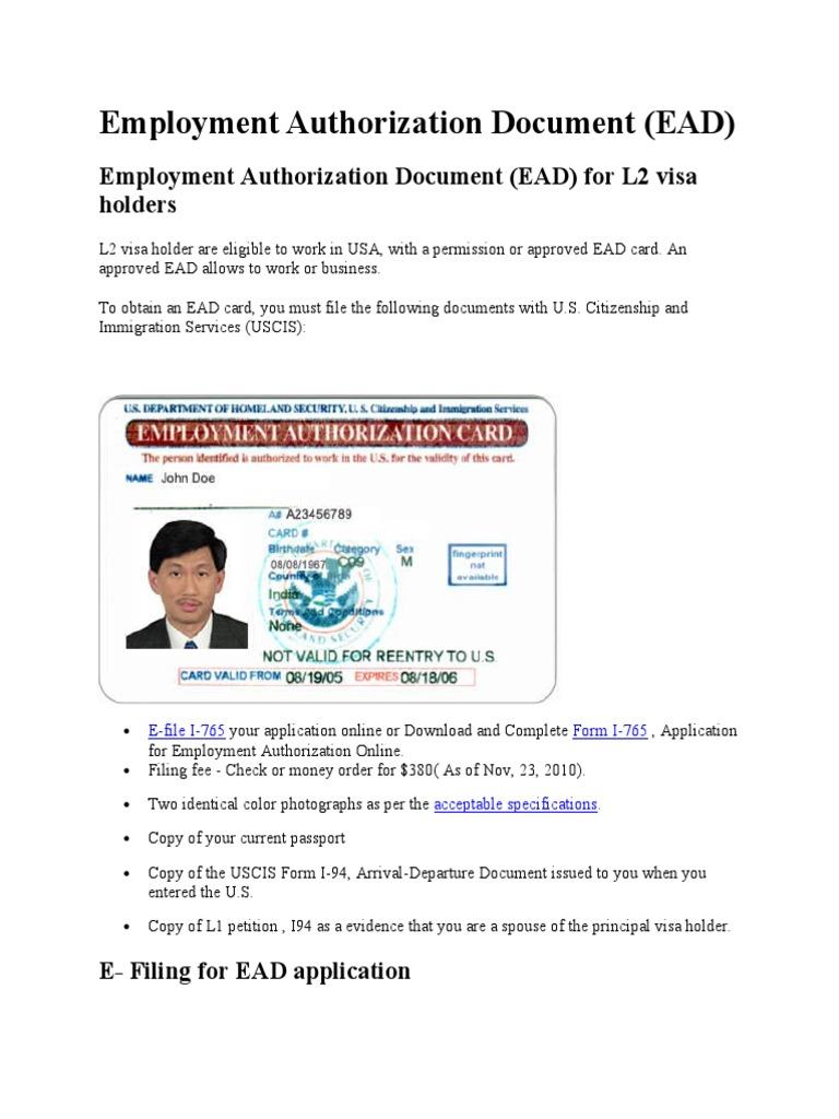 Employment Authorization Document United States Citizenship And