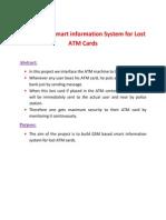 GSM Based Smart Information System for Lost ATM Cards