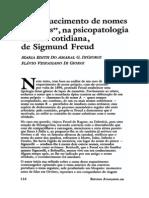 Esquecimento Dos Nomes Na Psicopatologia Da Vida Cotidiana
