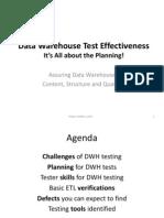 Data Warehouse / ETL Testing Effectiveness