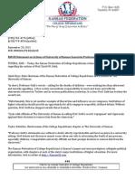 KSFCR Statement on actions of University of Kansas Associate Professor David W. Guth