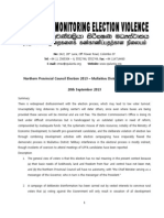Northern Provincial Council Election 2013 Situation Report Mullaitivu