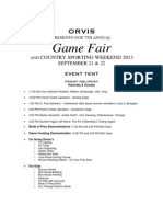 Schedule of Events 2013 Game Fair