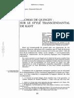 Thomas de Quincey Sur Le Style Transcendantal de Kant