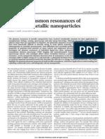 Quantum Plasmon Resonances of Individual Metallic Nanoparticles