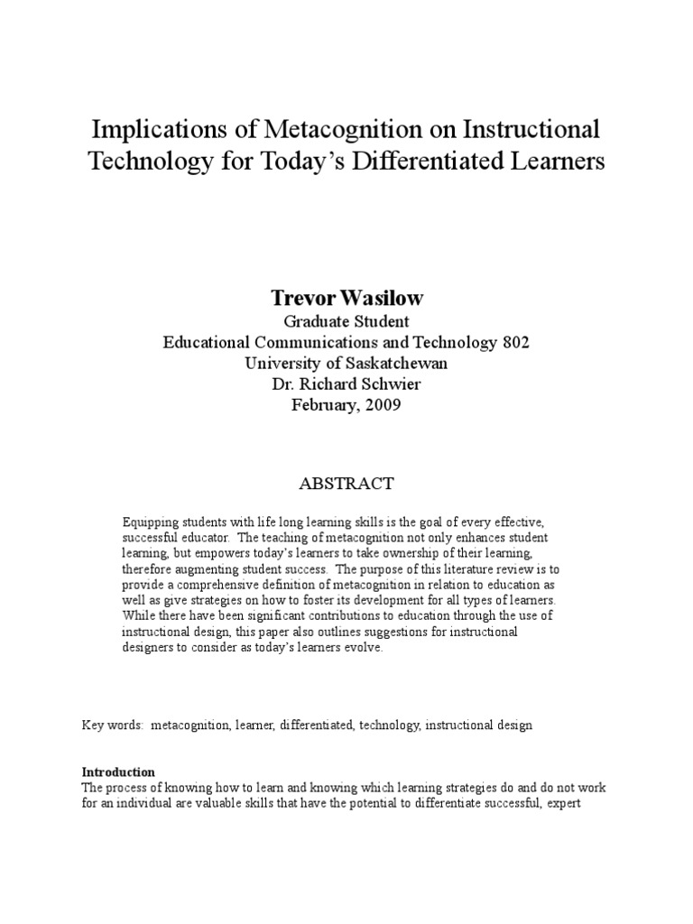 Implications Of Metacognition On Instructional Technology For Today S Differentiated Learners Metacognition Educational Technology