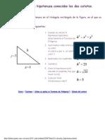 Cálculo de la hipotenusa