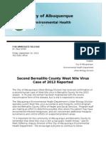 Second Bernalillo County WNV Case 9-20-2013