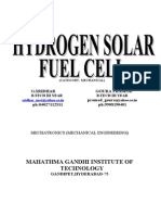 Hydrogen Solar Fuel Cell