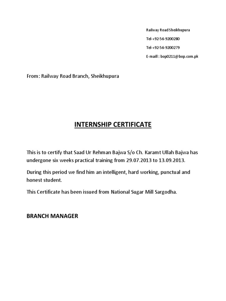 Internship Certificate Docx