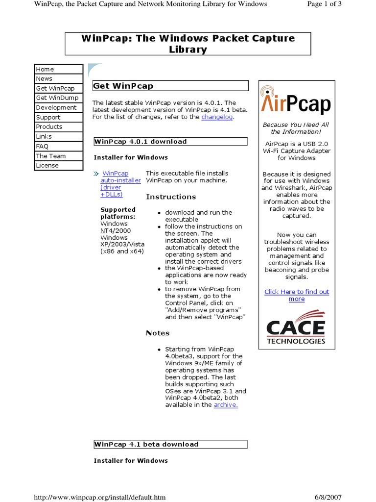 Http Www winpcap org Install Default___WinPcap - The Windows