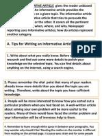 Informative Article Grade-8