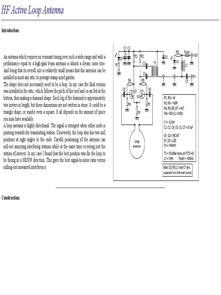 HF Active Loop Antenna   Antenna (Radio)   Amplifier