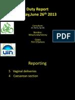 Duty Report Edit Dr Linda