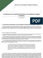 Mendoza Fillola (2008) materiales literarios en la enseñanza de lenguas