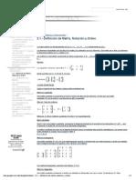 2.1.- Definición de Matriz, Notación y Orden