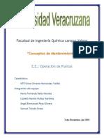 Trabajo de Mantenimiento - Operación de Plantas