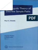 Paul C. Shields the Ergodic Theory of Discrete Sample Paths Graduate Studies in Mathematics 13 1996