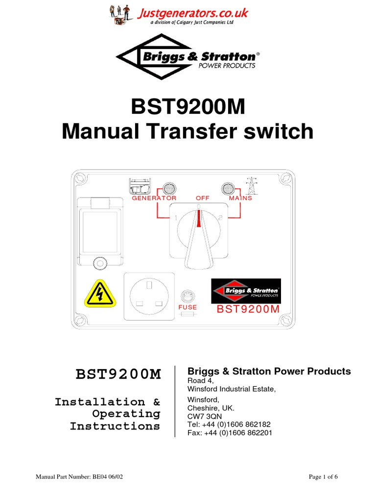 Bst9200 M Owners Manual Mains Electricity Electrical Connector How To Install A Transfer Switch
