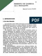 Pedro Sarmiento de Gamboa. Fuentes y Bibliografía