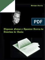 Enrique Garcia; «Algunas Notas y Apuntes Acerca de Anselmo de Aosta»
