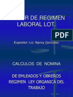 Calculos de Nomina Regimen Lot