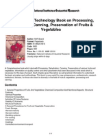 The Complete Technology Book on Processing, Dehydration, Canning, Preservation of Fruits &Amp; Vegetables