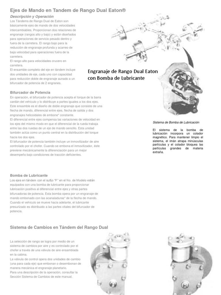 Engranaje de Rango Dual Eaton con Bomba de Lubricante