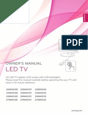 Lg 22ma53d En | Hdmi | Display Resolution