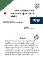 Particularităţi privind normele de procedură civila Vechiul cod de procedura civila