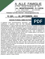 Lettera alle Famiglie - 22 settembre 2013