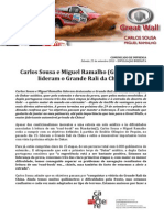COMUNICADO DE IMPRENSA | CARLOS SOUSA - GRANDE RALI DA CHINA - ETAPAS 1 a 5
