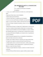 ATRIBUCIONES DEL PRESIDENTE SEGÚN LA CONSTITUCION DEL PERU