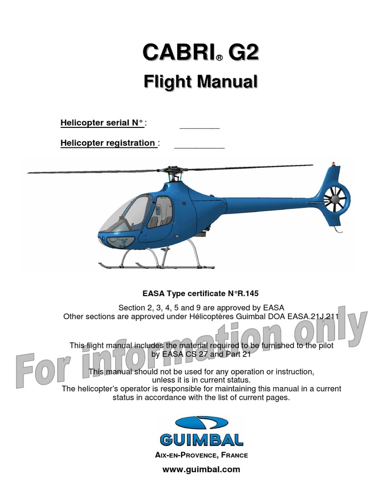 cabri g2 flight manual for information only helicopter aviation rh scribd com Operations Manual Examples Manual Templates for Word