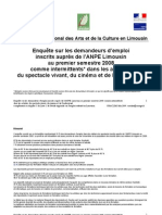 Enquête sur les demandeurs d'emploi inscrits auprès de l'ANPE Limousin au premier semestre 2008 comme intermittents* dans les activités du spectacle vivant, du cinéma et de l'audiovisuel