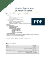 Presupuesto Pagina Web Club Aereo Vallenar