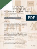 Literatura y poder. Sobre la potencia del testimonio en América Latina.