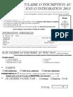 Formulaire Inscription WEI 2013