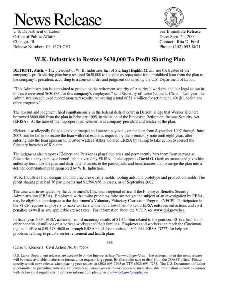 Department Of Labor Pr0924b04 Loans Fiduciary
