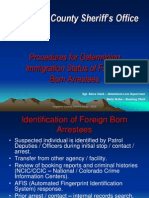 Arapahoe County - Procedures for Determining Immigration Status of Foreign Born Arrestees