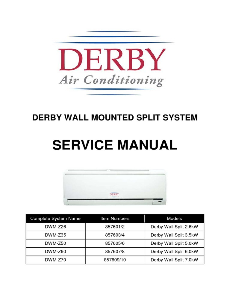 service manual 2010 hvac air conditioning rh scribd com Ductless Wall Air Conditioners Wall Hung Air Conditioner