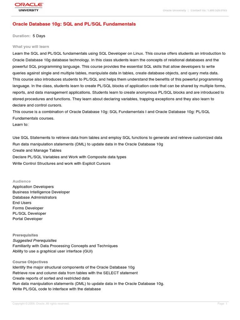 Oracle 22g Pl SQL Fundamentals