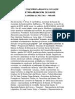 Ata de reunião nº 01 da IX Conferência Municipal de Saúde do município de Santo Antônio da Platina01