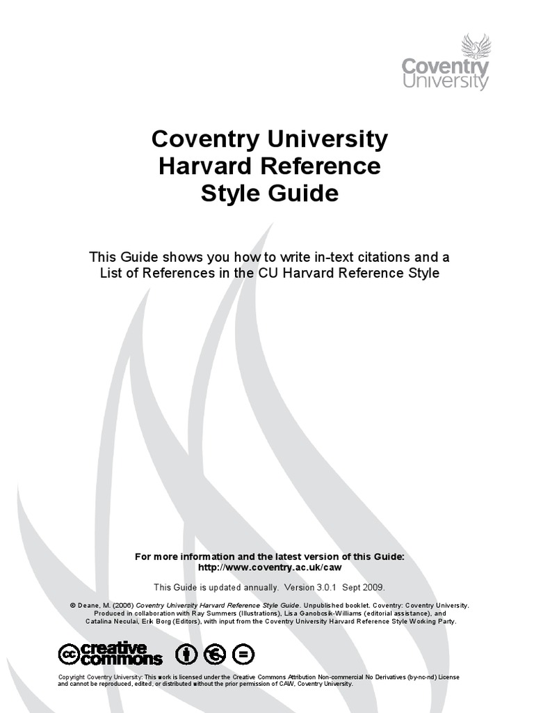 Coventry University Harvard Reference Style Guide Citation