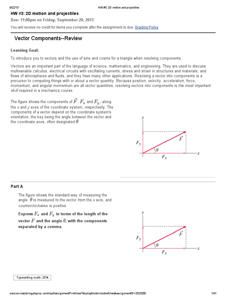 worksheet Vector Components Worksheet hw 3 2d motion and projectiles mastering physics answers trigonometric functions sine